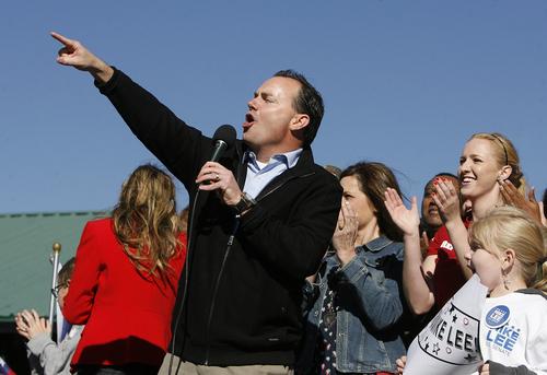 Scott Sommerdorf   |  The Salt Lake Tribune Sen. Mike Lee speaks to enthusiastic supporters in  South Jordan on Saturday, Nov. 2, 2013.