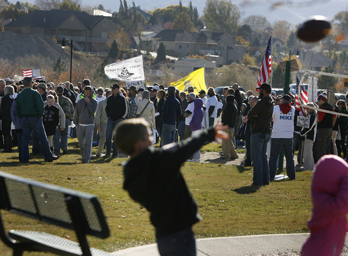 Scott Sommerdorf   |  The Salt Lake Tribune A large group of Mike Lee and Tea Party supporters wait for the senator  to arrive at a rally in  South Jordan on Saturday, Nov. 2, 2013.