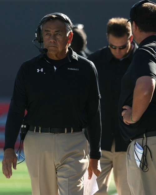 Leah Hogsten  |  The Salt Lake Tribune Hawaii Warriors head coach Norm Chow. Utah State University hosts Hawaii at Romney Stadium, Saturday, November 2, 2013.