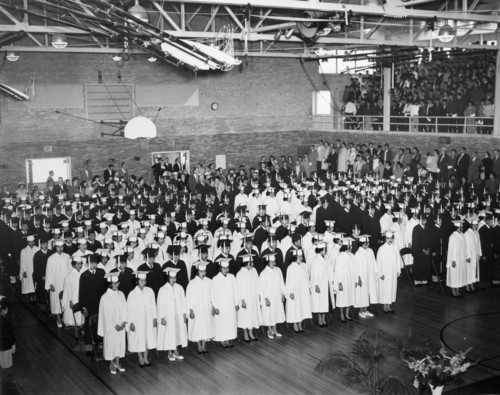 | Courtesy Used by permission, Utah State Historical Society, all rights reserved.  A graduating class at the Intermountain Indian School in Brigham City, which operated between 1950 and 1984.