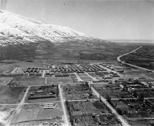 | Courtesy Used by permission, Utah State Historical Society, all rights reserved.  Aerial view of the Intermoutain Indian School campus in Brigham City, which operated between 1950 and 1984.