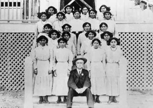 | Courtesy Used by permission, Utah State Historical Society, all rights reserved.  A group of Navajo girls at a government boarding school in Shiprock, New Mexico, in 1904.