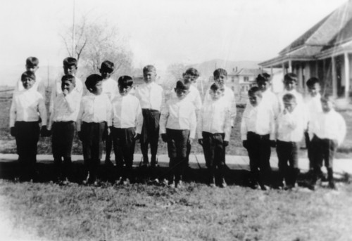 | Courtesy Use by permission, Utah State Historical Society, all rights reserved.  Ute boys at Whiterocks School, courtesy of Regional History Center, Uintah County Public Library in Vernal.