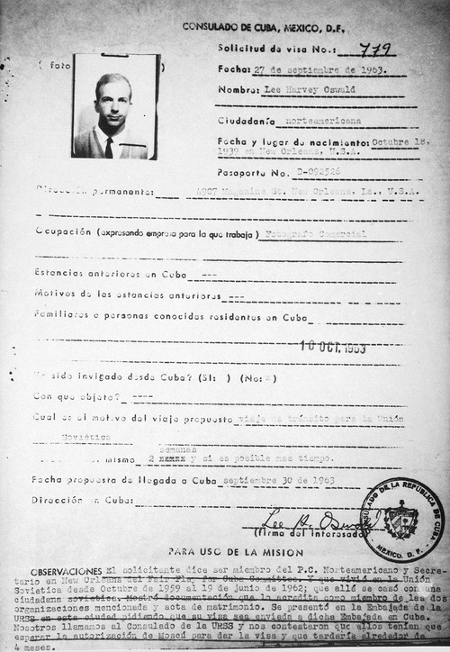 This photo shows a copy of Lee Harvey Oswald's visa application to Cuba dated Sept. 27, 1963, released by the Cuban government on Aug. 3, 1978. The visa was not granted. (AP Photo/Cuban Government)