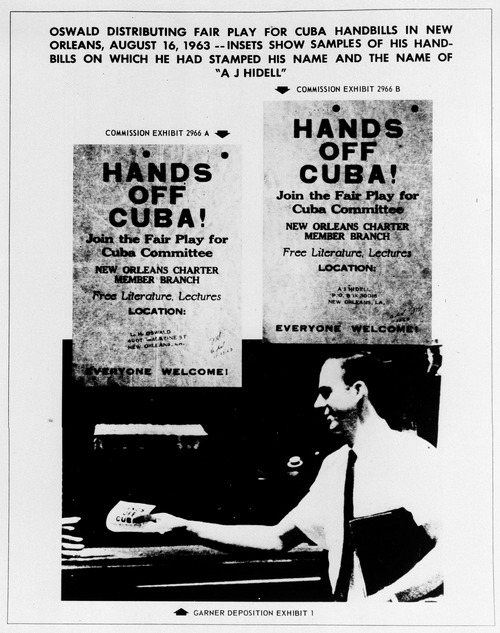 """FILE - This Sept. 26, 1964 file photo shows one of the exhibits contained in the Warren Commission report on the assassination of President John F. Kennedy. The commission said the handbills in the image were samples of ones on which Lee Harvey Oswald had stamped his name and the name """"A.J. Hidell"""". The image below was identified as showing Oswald distributing the handbills in New Orleans on Aug. 16, 1963. (AP Photo/Warren Commission)"""