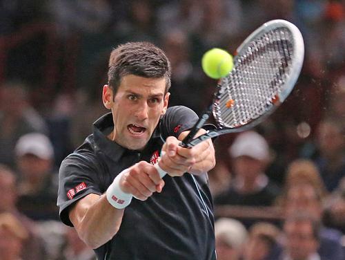 Serbia's Novak Djokovic returns the ball to Spain's David Ferrer during the final of the Paris Masters tennis, in the Paris Bercy stadium, Sunday Nov. 3, 2013.(AP Photo/Remy de la Mauviniere)