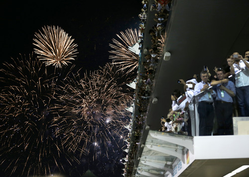Fireworks explode over the Yas Marina racetrack after the Emirates Formula One Grand Prix in Abu Dhabi, United Arab Emirates, Sunday, Nov. 3, 2013. (AP Photo/Hassan Ammar)
