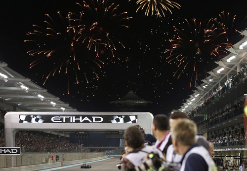 Fireworks explode after the Abu Dhabi Formula One Grand Prix at the Yas Marina racetrack in Abu Dhabi, United Arab Emirates, Sunday, Nov. 3, 2013. World champion Sebastian Vettel won the Abu Dhabi Grand Prix in dominant fashion Sunday to clinch a seventh straight victory and 11th of a dominating season. (AP Photo/Luca Bruno)