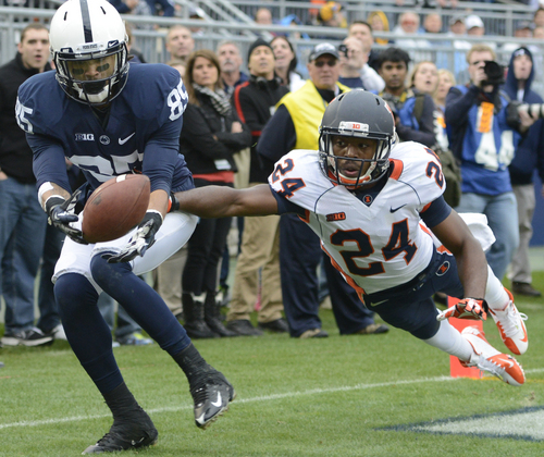 Illinois defensive back Darius Mosely (24) breaks up a pass in the end zone intended for Penn State wide receiver Brandon Felder (85) in the final minute of an NCAA college football game in State College, Pa., Saturday, Nov. 2, 2013. Penn State won the game 24-17 in overtime. (AP Photo/John Beale)