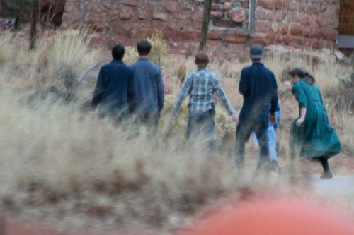 People play basketball in one of a series of photographs found on a memory card and alleged to have come from an FLDS church security team.