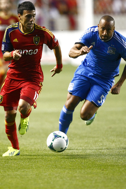 Chris Detrick  |  The Salt Lake Tribune Real Salt Lake midfielder Javier Morales (11) and San Jose Earthquakes midfielder Brad Ring (5) go for the ball during the game at Rio Tinto Stadium Saturday September 21, 2013.  San Jose is winning the game 2-1 at halftime.