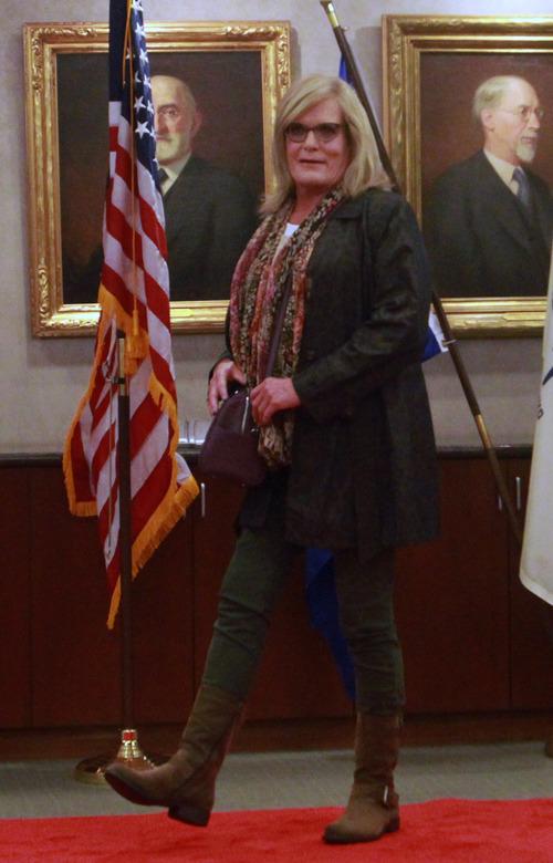 Rick Egan  | The Salt Lake Tribune   Jen Anderson walks the run way during the Women Veterans Fatigues to Fabulous fashion show, Monday, November 4, 2013.