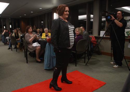 Rick Egan  | The Salt Lake Tribune   Deborah Caldwell walks the run way during the Women Veterans Fatigues to Fabulous fashion show, Monday, November 4, 2013.