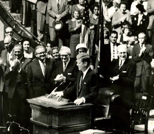Tribune file photo  John F. Kennedy speaks at the Tabernacle at Temple Square in 1960.