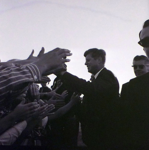 John F. Kennedy greets a crowd at the airport before giving a speech at Temple Square on September 26, 1963. Courtesy Utah State Historical Society