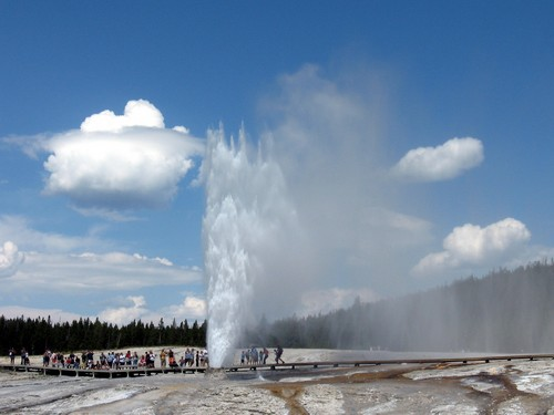 Courtesy photo  |  Wikipedia user Mminc10 The Beehive Geyser erupts in Yellowstone National Park, which sits above a far bigger magma reservoir than was previously thought.