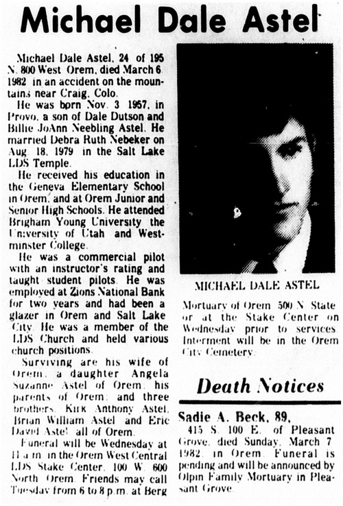 | Courtesy BYU Archives Michael Dale Astel died in 1982 when a boulder fell on him. Astel's nephew, David Hall, says he was thinking about Astel's death when he filmed friend Glenn Taylor knocking over a boulder in Goblin Valley State Park.