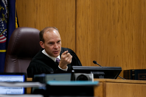 Judge Derek Pullan presides over the trial of Martin MacNeill at the Fourth District Court in Provo Tuesday, Nov. 5, 2013. MacNeill is charged with murder for allegedly killing his wife Michele MacNeill in 2007.  MARK JOHNSTON/Daily Herald