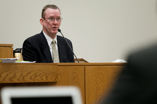 Mark Johnston  |  Pool  Sgt. Spencer Cannon, a former investigator with the Office of the Medical Examiner, testifies during the trial of Martin MacNeill at 4th District Court in Provo Tuesday, Nov. 5, 2013. MacNeill is charged with murder for allegedly killing his wife Michele MacNeill in 2007.