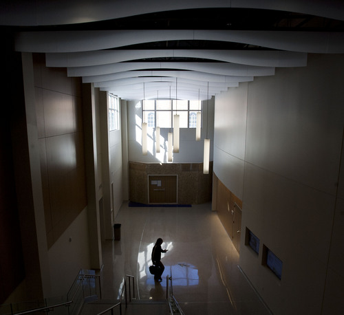 Steve Griffin  |  The Salt Lake Tribune  Light streams into the long hallway at the Salt Lake Community College's new Center for Arts and Media, at the South City Campus in Salt Lake City, Utah Tuesday, November 5, 2013.