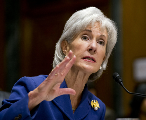 Health and Human Services Secretary Kathleen Sebelius testifies on Capitol Hill in Washington, Wednesday, Nov. 6, 2013, before the Senate Finance Committee hearing on the difficulties plaguing the implementation of the Affordable Care Act,. The massive failure at healthcare.gov website is getting new criticism for lack of proper cybersecurity protections.  (AP Photo/J. Scott Applewhite)