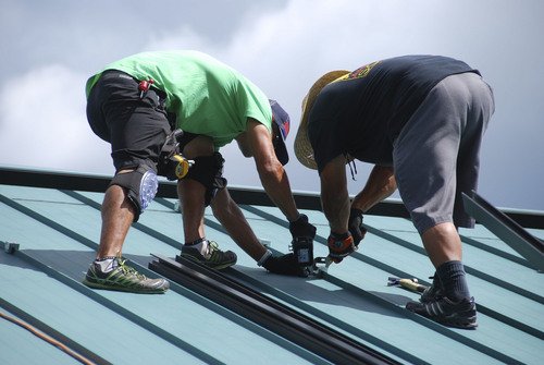 Workers install solar panels on Roger Crawford's Park City home in 2013. Photo courtesy Roger Crawford.