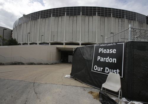 Houston's Astrodome is shown Tuesday, Nov. 5, 2013. Voters are deciding whether to approve a referendum authorizing up to $217 million in bonds to turn the stadium that once hosted both baseball and football games into a giant convention center and exhibition space.(AP Photo/Pat Sullivan)