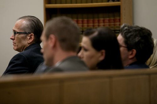 Mark Johnston  |  Pool Martin MacNeill sits with his defense counsel during his trial at 4th District Court in Provo Wednesday, Nov. 6, 2013. MacNeill is charged with murder for allegedly killing his wife Michele MacNeill in 2007.
