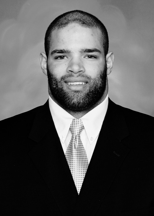 Kevin Whimpey plays left tackle for Utah State.