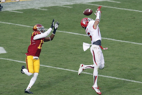 Chris Detrick  |  The Salt Lake Tribune Utah Utes wide receiver Dres Anderson (6) can't make a catch while being covered by USC Trojans cornerback Kevon Seymour (13) during the second half game at the The Los Angeles Memorial Coliseum Saturday October 26, 2013. USC won the game 19-3.