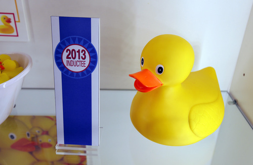 A rubber duck is on display during the National Toy Hall of Fame ceremony at the National Museum of Play at The Strong in Rochester, N.Y., Thursday, Nov. 7, 2013. The rubber duck and the ancient game of chess were inducted into the Toy Hall of Fame Thursday, beating out 10 other finalists including bubbles, the board game Clue, and Nerf toys. (AP Photo/Democrat & Chronicle, Carlos Ortiz)  MAGS OUT; NO SALES