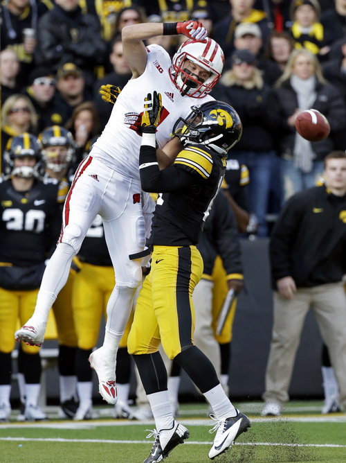 Iowa defensive back Desmond King, right, breaks up a pass intended for Wisconsin wide receiver Jared Abbrederis during the first half of an NCAA college football game, Saturday, Nov. 2, 2013, in Iowa City, Iowa. (AP Photo/Charlie Neibergall)