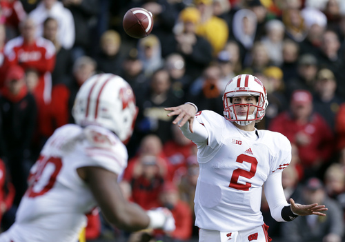 Wisconsin quarterback Joel Stave (2) throws a pass to running back James White, left, during the second half of an NCAA college football game against Iowa, Saturday, Nov. 2, 2013, in Iowa City, Iowa. Wisconsin won 28-9. (AP Photo/Charlie Neibergall)