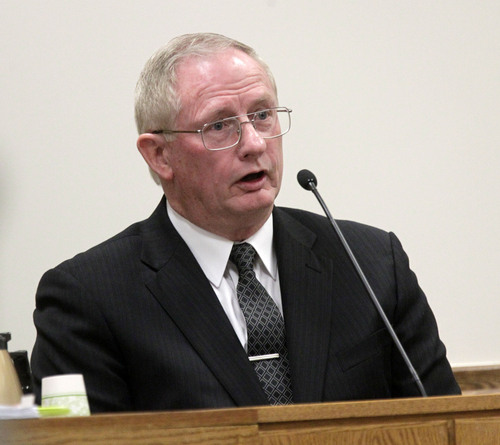 Al Hartmann  |  The Salt Lake Tribune Jim Vanzant, a nurse pracitioner who worked with Martin MacNeill at the Utah State Developmental Center testifies in his murder trial in 4th District Court in Provo Utah Thursday November 7, 2013.