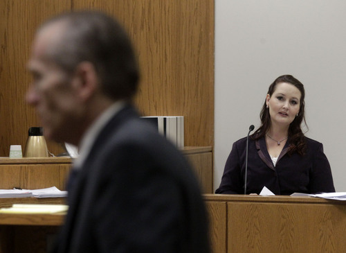 Al Hartmann  |  The Salt Lake Tribune Gypsy Willis who carried on an affair with Martin MacNeill looks towards Martin MacNeill during a recess in his murder trial in 4th District Court in Provo Utah Thursday November 7,  2013. She read portions of love letters the two exchanged while serving time in federal prison for document fraud.