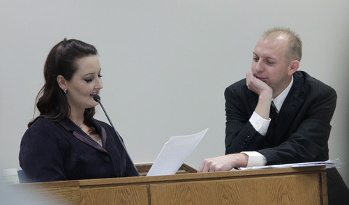 Al Hartmann  |  The Salt Lake Tribune Utah County Prosecuter Sam Pead, right, has Gypsy Willis read love letters  exchanged with Martin MacNeill while both were in federal prison for document fraud.  She took the witness stand in  4th District Court in Provo Utah Thursday November 7,  2013.