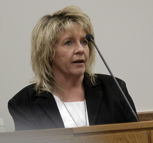 Al Hartmann  |  The Salt Lake Tribune Tami Black with Utah Adult Probation and Parole testifies in Martin MacNeill  murder trial in 4th District Court in Provo Utah Thursday November 7, 2013.