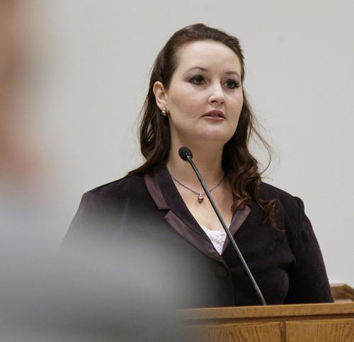 Al Hartmann  |  The Salt Lake Tribune Gypsy Willis mistress of Martin MacNeill testifies in his murder trial in 4th District Court in Provo, Utah Thursday November 7,  2013.