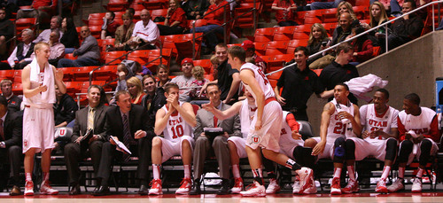 Leah Hogsten     The Salt Lake Tribune The Utes bench explodes after Austin Eastman is called to play.  University of Utah defeated Evergreen State 128-44 Friday, November 8, 2013 at the Huntsman Center.