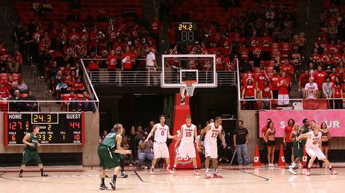 Leah Hogsten     The Salt Lake Tribune University of Utah defeated Evergreen State 128-44 Friday, November 8, 2013 at the Huntsman Center.