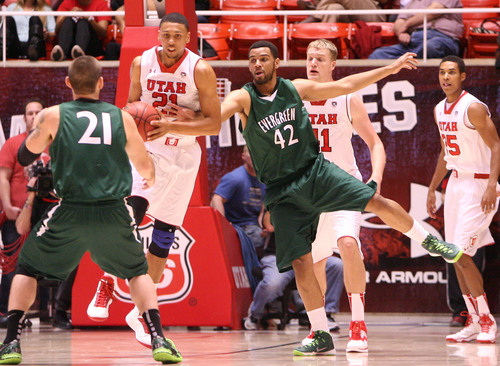 Leah Hogsten  |  The Salt Lake Tribune University of Utah defeated Evergreen State 128-44 Friday, November 8, 2013 at the Huntsman Center.