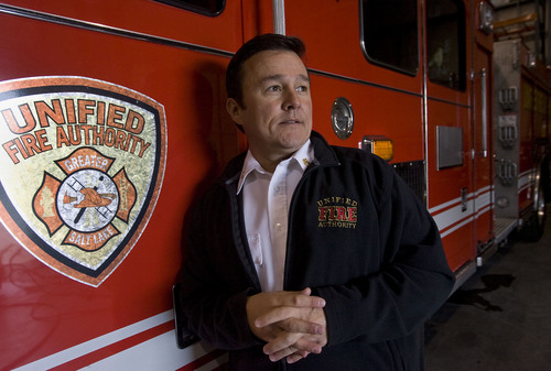Al Hartmann  |  Tribune file photo Unified Fire Authority Chief Michael Jensen, seen here in 2010, said it's unlikely the Utah Data Center would suffer damage from a fire.