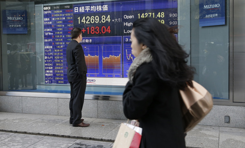 A man looks at an electronic stock board of a securities firm showing Japan's benchmark Nikkei 225 that gained 183.04 ponts, or 1.30 percent, and closed at 14,269.84 in Tokyo, Monday, Nov. 11, 2013. Asian stock markets made a lackluster start to the week after unexpectedly strong U.S. economic growth and hiring reinforced expectations that the Federal Reserve will start cutting back stimulus soon. (AP Photo/Shizuo Kambayashi)