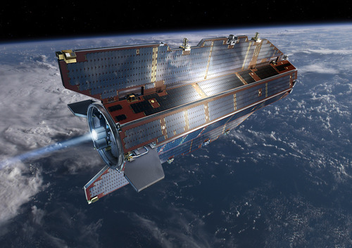 """In his image, publicly provided by the European Space Agency ESA, research  satellite GOCE flies above earth at unknown date. The European Space Agency says  GOCE, one of its research satellites re-entered the Earth's atmosphere at 0000 GMT Monday Nov. 11, 2013 on a descending orbit pass that extended across Siberia, the western Pacific Ocean, the eastern Indian Ocean and Antarctica.  It says that while the 1,100 kilogram satellite disintegrated in the atmosphere, about 25 percent of it - about 275 kilograms of """"space junk"""" fragments -  slammed into the Atlantic ocean between Antarctica and South America, a few hundred kilometers from the Falkland Islands according to current estimates. It caused no known damage, according to ESA. (AP Photo/ European Space Agency,ESA) MANDATORY CREDIT"""