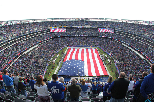 In this photograph taken with a fisheye lens, a United States flag covers the field at MetLife Stadium as the New York Giants observe the NFL's Salute to Service before a football game between the Giants and the Oakland Raiders, Sunday, Nov. 10, 2013, in East Rutherford, N.J. (AP Photo/Paul Kazdan)