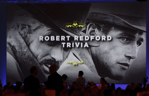 "Leah Hogsten  |  The Salt Lake Tribune The audience was treated to a trivia game about Robert Redford and his movies. For all his contributions to the state of Utah, Robert Redford was recognized and honored by Governor Gary Herbert at a gala in his honor, ""The Governor's Salute to Robert Redford: A Utah Tribute to an American Icon"" at the Grand America Hotel, Saturday, November 9, 2013. Redford is an actor, director, producer, philanthropist, businessman, environmentalist, and founder of the Sundance Resort, the Sundance catalog, and the Sundance Institute which hosts the Sundance Film Festival."