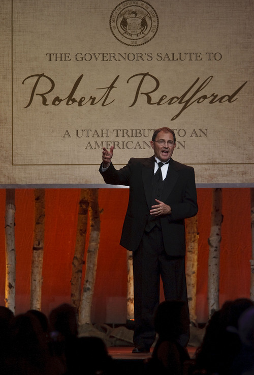 "Leah Hogsten  |  The Salt Lake Tribune Governor Gary Herbert welcomes the crowd. For all his contributions to the state of Utah, Robert Redford was recognized and honored by Governor Gary Herbert at a gala in his honor, ""The Governor's Salute to Robert Redford: A Utah Tribute to an American Icon"" at the Grand America Hotel, Saturday, November 9, 2013. Redford is an actor, director, producer, philanthropist, businessman, environmentalist, and founder of the Sundance Resort, the Sundance catalog, and the Sundance Institute which hosts the Sundance Film Festival."