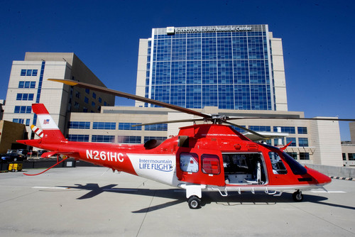|  Tribune file photo  A Life Flight helicopter sits on the helipad in front of the Intermountain Medical Center in Murray.
