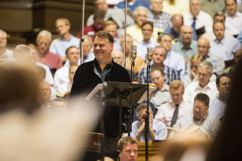 """Welsh opera icon Bryn Terfel on lead vocals records """"Homeward Bound"""" with the Mormon Tabernacle Choir, led by Mack Wilberg, in Salt Lake City. Courtesy Mormon Tabernacle Choir."""