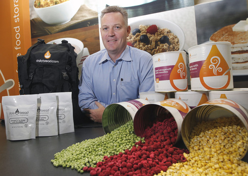 Al Hartmann     The Salt Lake Tribune Mark Hyland, CEO of Daily Bread, with freeze-dried peas, raspberries and corn at their administrative office in Kaysville. The company makes dozens of foods from vegetables and fruits to meat and prepared dinners for emergency food supplies that can last for 25 years.